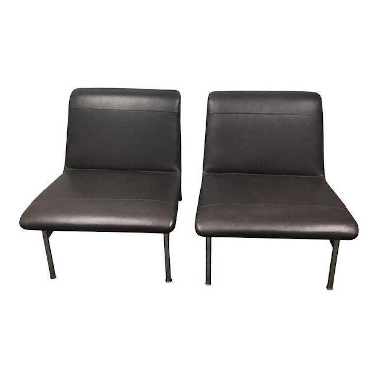 Pair Of Bernhardt CP2 Leather And Chrome Lounge Chairs For Sale