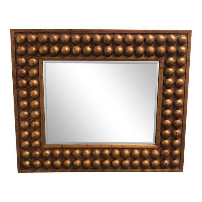 A Stunning Vintage Wall Mirror This Wood Framed Beauty Has Double Bubble Row Frame