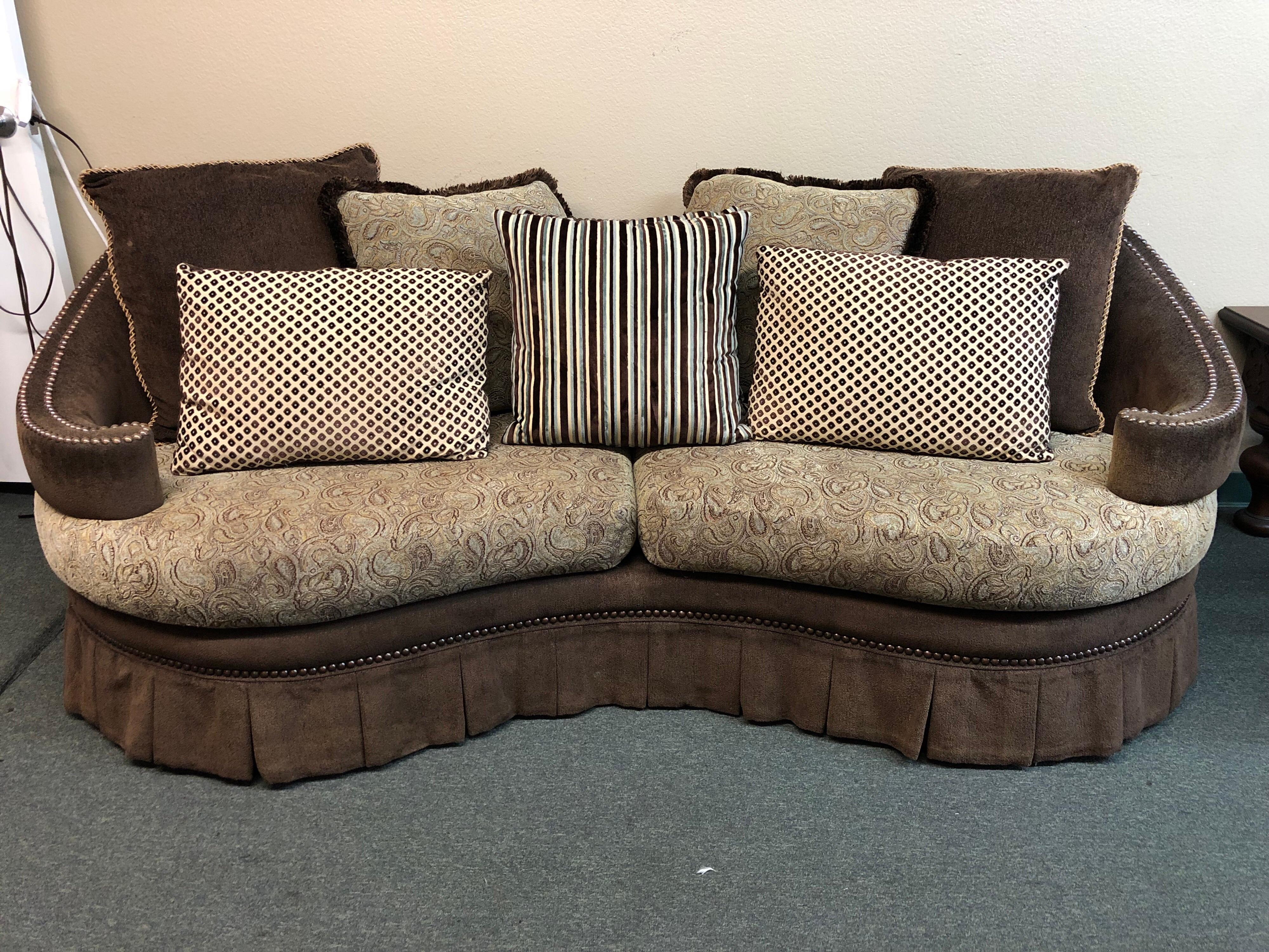 A Custom Sofa. A Curved Back, Perfect For Bay Windows, Pleated Skirt And