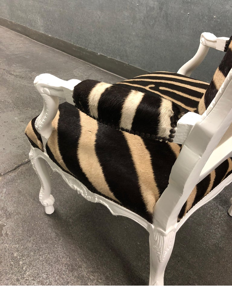Wood Ebanista Jesi South African Hide Armchair For Sale