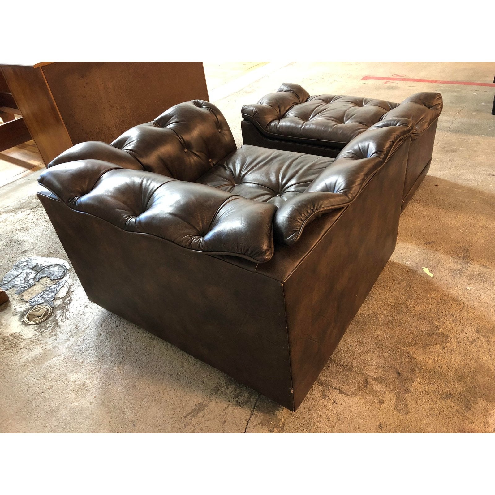 Mid 20th Century Schafer Bros Tufted Leather Chair Ottoman