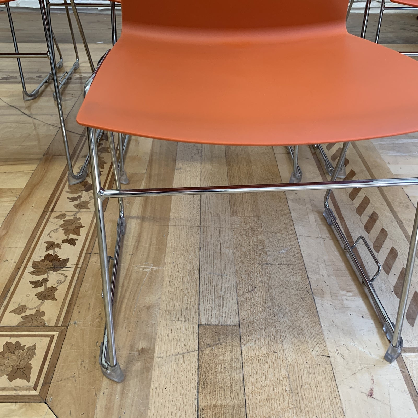 Wondrous Hightower Stackable Orange Four Cast Chairs Set Of Eight At Machost Co Dining Chair Design Ideas Machostcouk