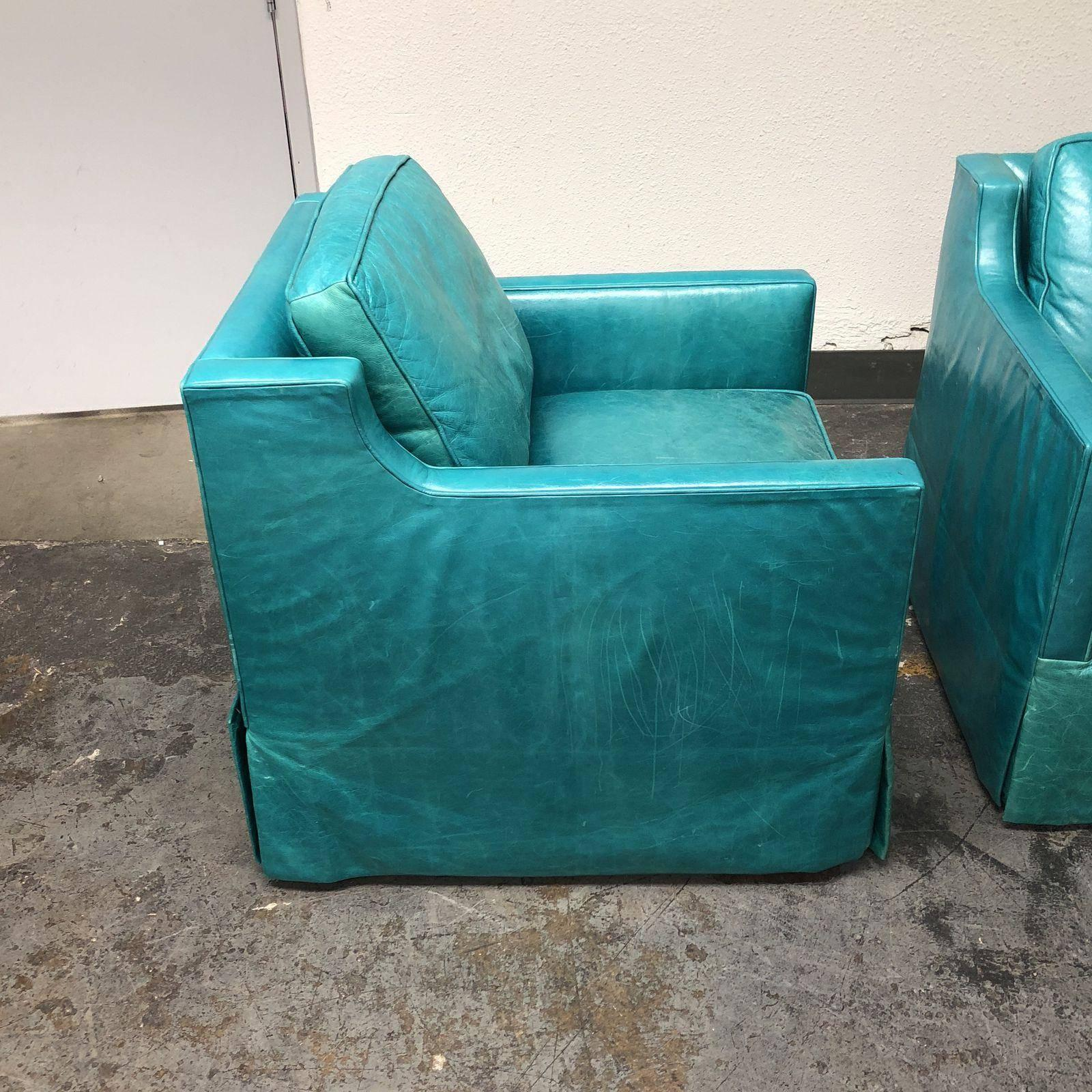 Contemporary Pair Of Custom Turquoise Leather Swival Armchairs For Sale