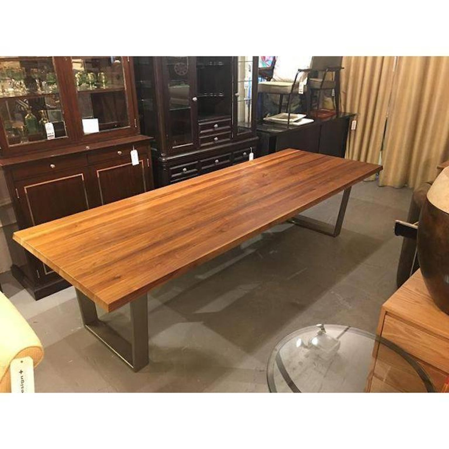 Bonaldo solid walnut dining table with gray base at 1stdibs dzzzfo
