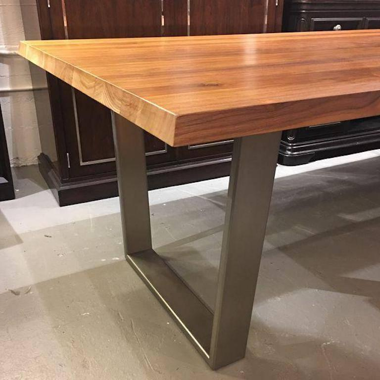 Bonaldo Solid Walnut Dining Table with Gray Base at 1stdibs