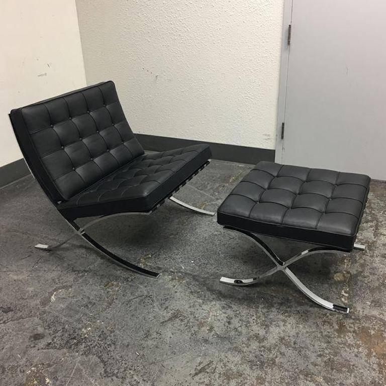 A black leather Barcelona chair with Ottoman from Knoll. Designed by Ludwig Mies van der & Ludwig Mies van der Rohe Barcelona Chair and Ottoman at 1stdibs