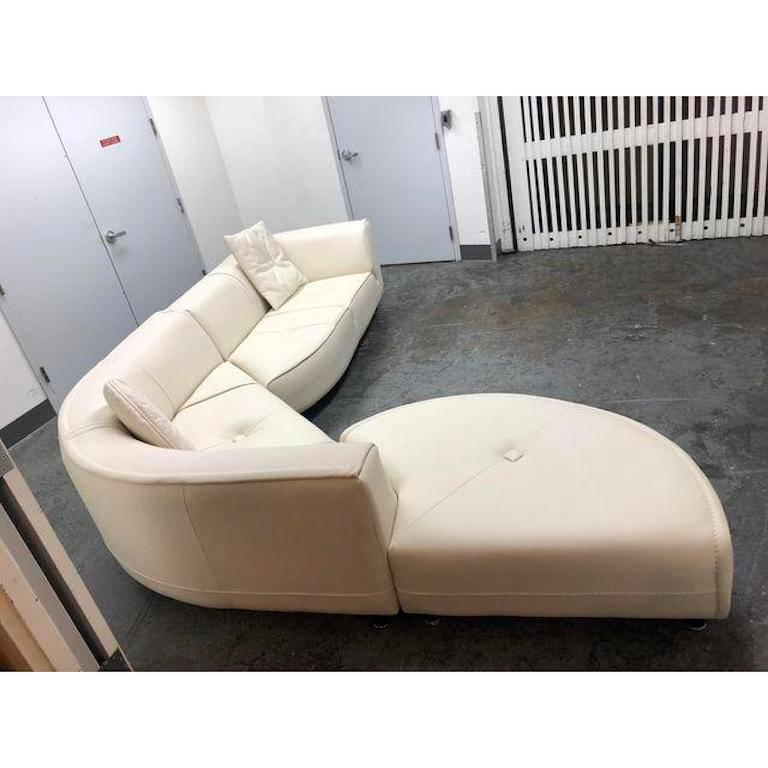 Modern Gamma Furniture Planet Three Piece White Leather Sectional For Sale
