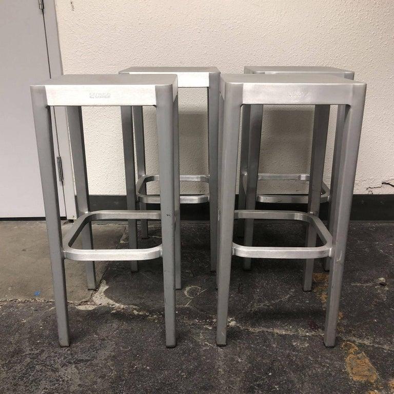Set Of Four Philippe Starck Emeco Brushed Aluminum