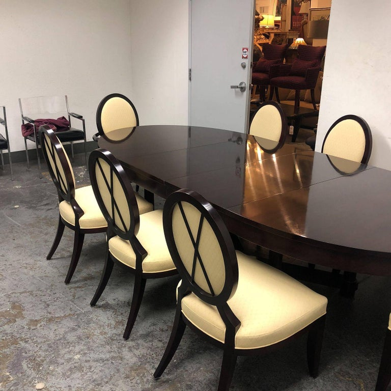 Hollywood Regency Barbara Barry Oval Dining Table And Eight X Back Chairs For Baker