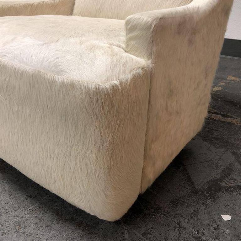 New Barbara Barry Scoop Swivel Cowhide Chair For Hbf At 1stdibs