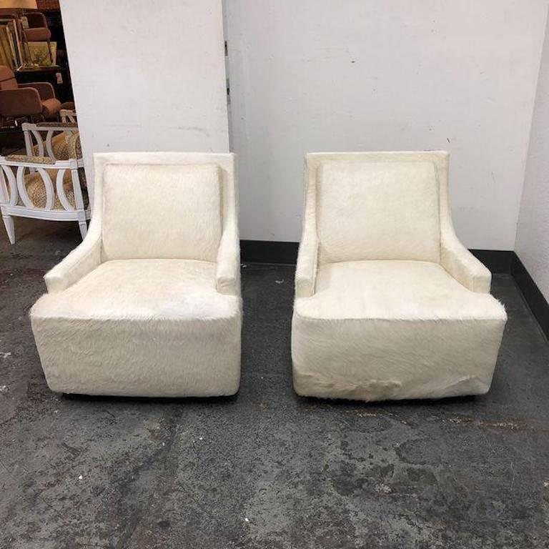 Mid Century Modern New Pair Of Barbara Barry Scoop Swivel Cowhide Chairs  For HBF For
