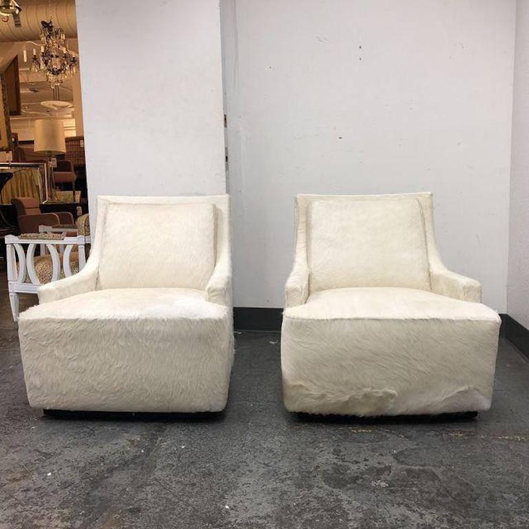 New Pair Of Barbara Barry Scoop Swivel Cowhide Chairs For