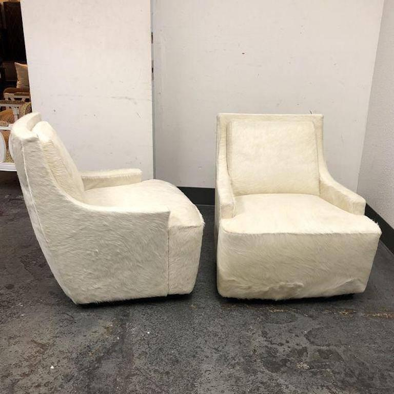 New Pair Of Barbara Barry Scoop Swivel Cowhide Chairs For HBF In Good  Condition For Sale