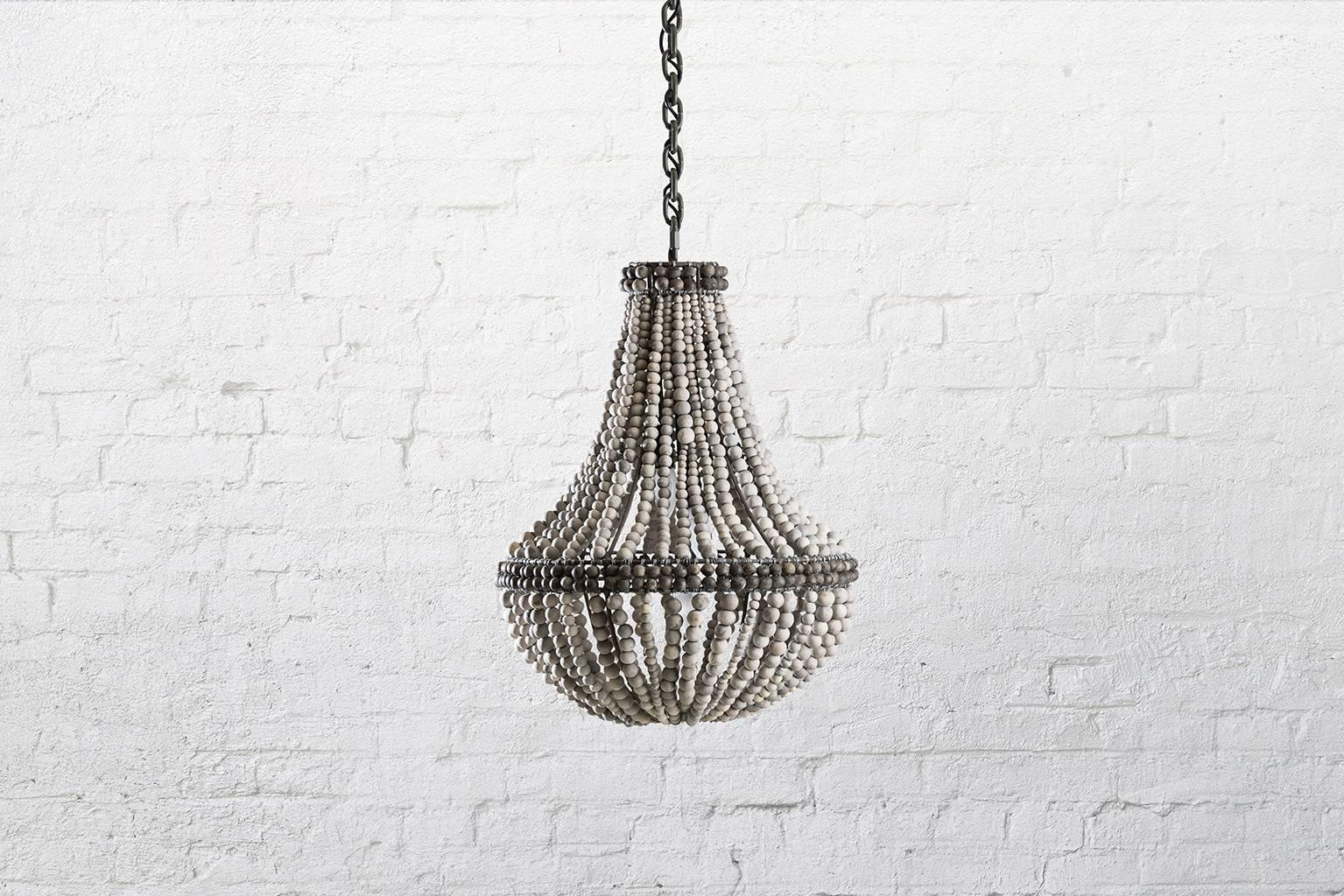 Klaylife sash grey handmade clay beaded chandelierhanging light klaylife sash grey handmade clay beaded chandelierhanging light 21st century at 1stdibs aloadofball Image collections