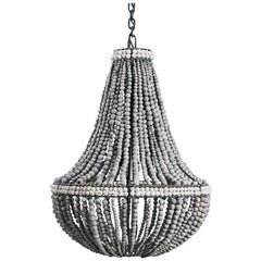Klaylife Sash, Grey Handmade Clay Beaded Chandelier/Hanging Light, 21st Century