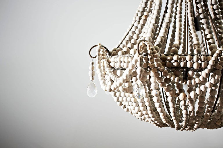 Beaded klaylife Elongated, grey handmade clay beaded chandelier, 21st Century For Sale