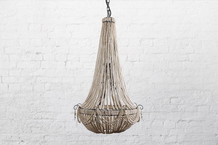 South African klaylife Elongated, grey handmade clay beaded chandelier, 21st Century For Sale
