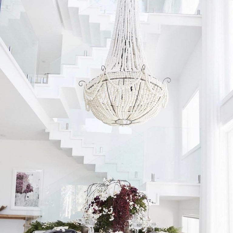 klaylife Elongated, grey handmade clay beaded chandelier, 21st Century In New Condition For Sale In Brighton, Victoria