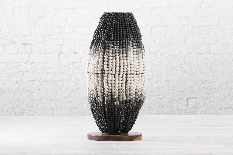 South African klaylife ombre handmade clay beaded floor lamp, 21st Century For Sale