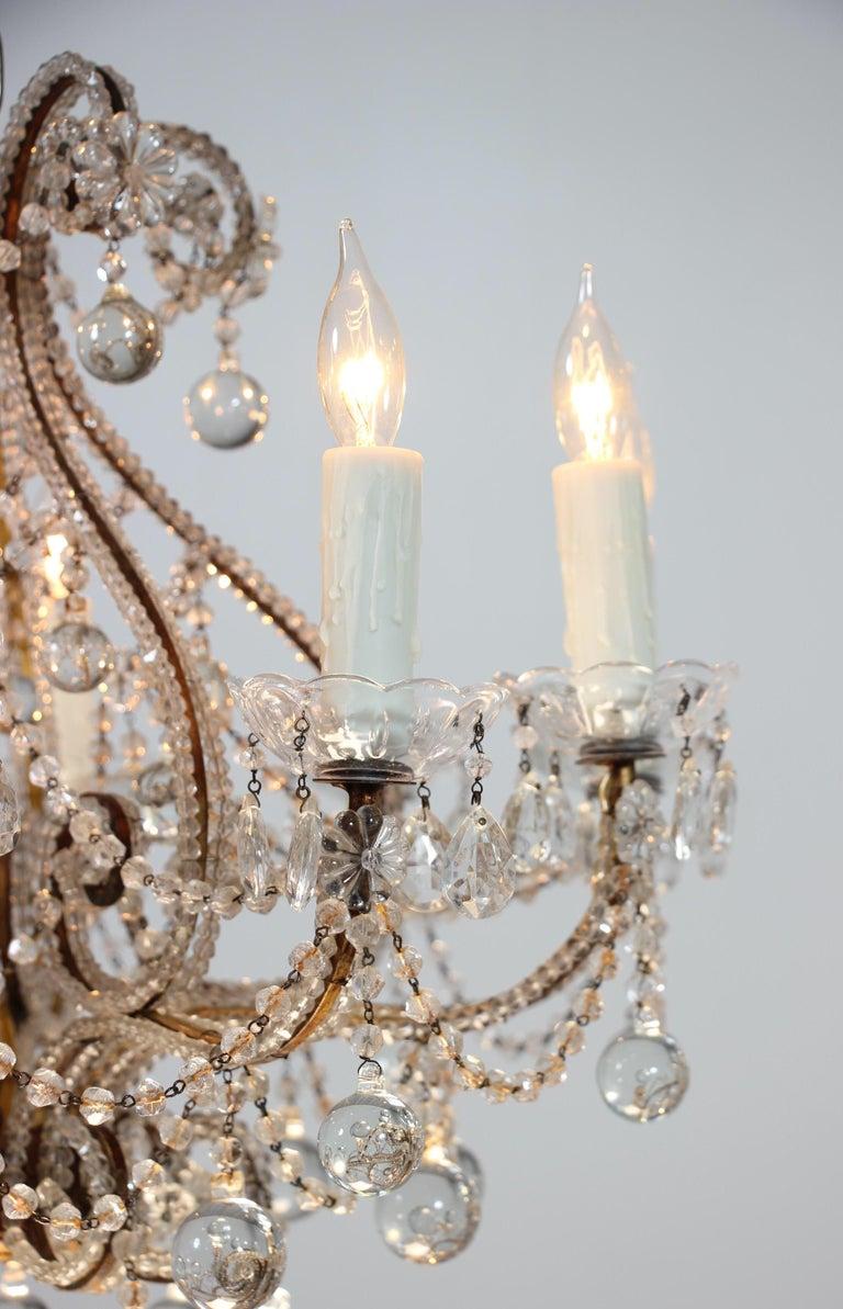 Gilt Italian Crystal Beaded Chandelier with Ball Drops For Sale