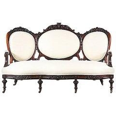 Antique Victorian Carved Mahogany Sofa
