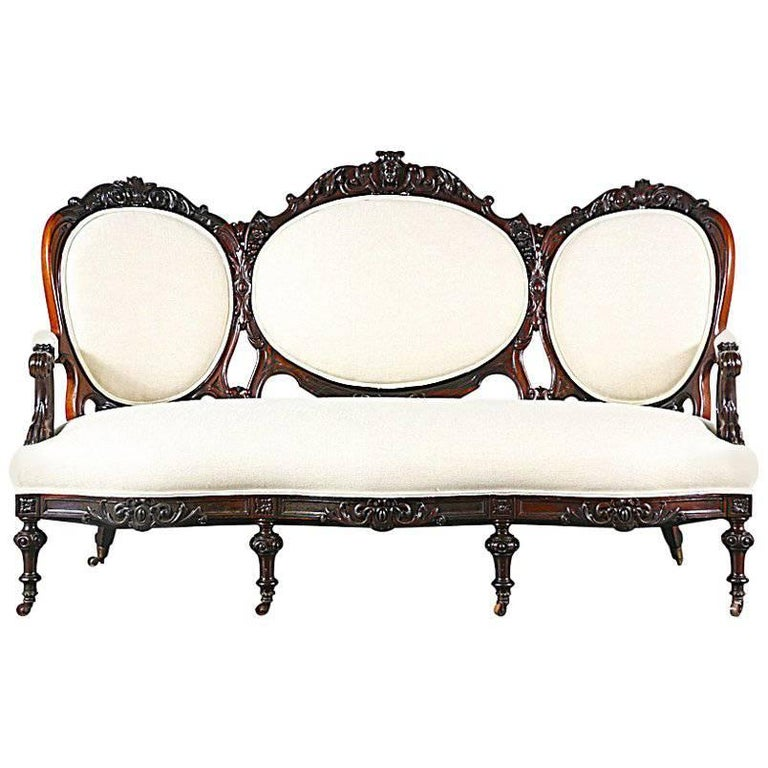 Antique Victorian Carved Mahogany Sofa For Sale