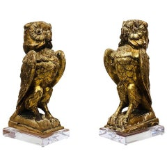 19th Century Italian Carved Giltwood Owls