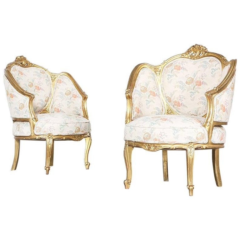 Pair of 1940s French Louis XV-Style Bergeres Chairs