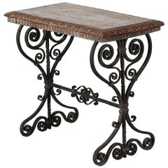 1930s Italian Wrought Iron Table with Carved-Wood Top