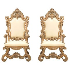 1930s Renaissance Revival Throne Chairs
