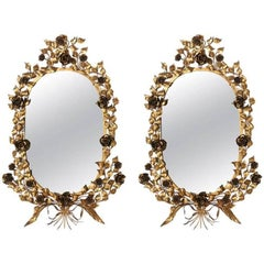 Pair of Italian Gilt Iron Mirrors