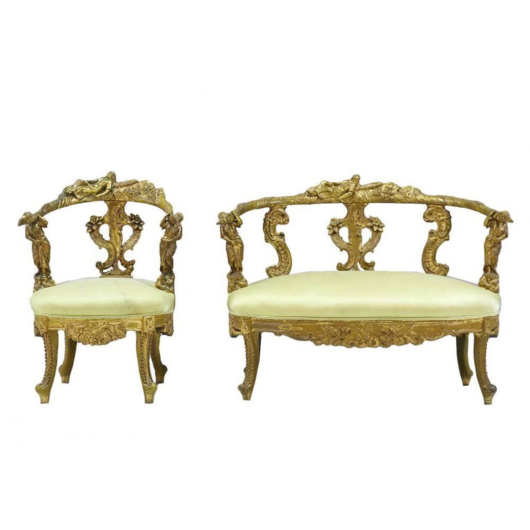 Italian Baroque Gilt Wood Settee And Chair