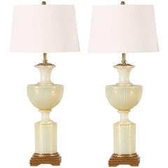 Italian Gold Flecked Opalescent Murano Glass Lamps