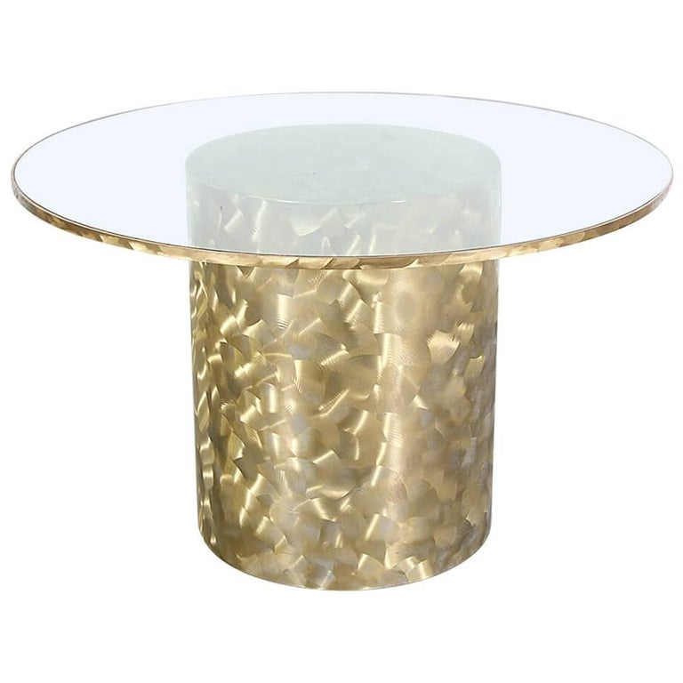 Unique Iridescent Brass Base Dining Table with Glass Top