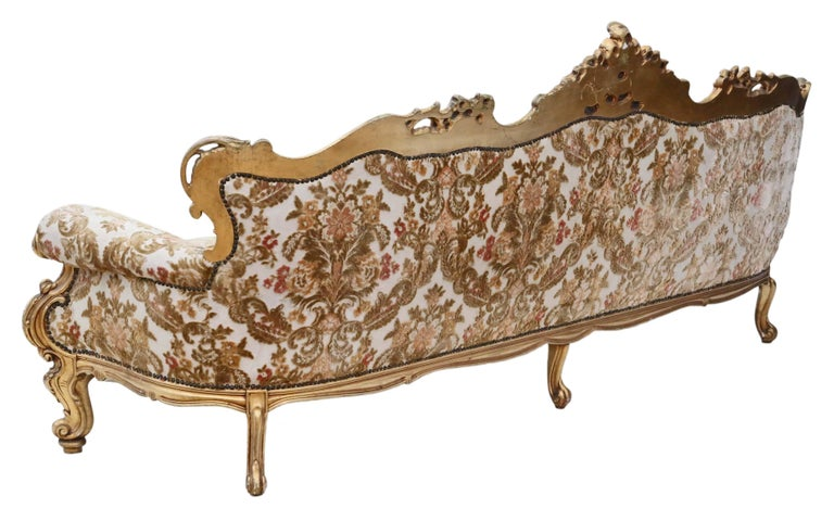Antique large quality french giltwood sofa settee chaise for Antique chaise lounge for sale