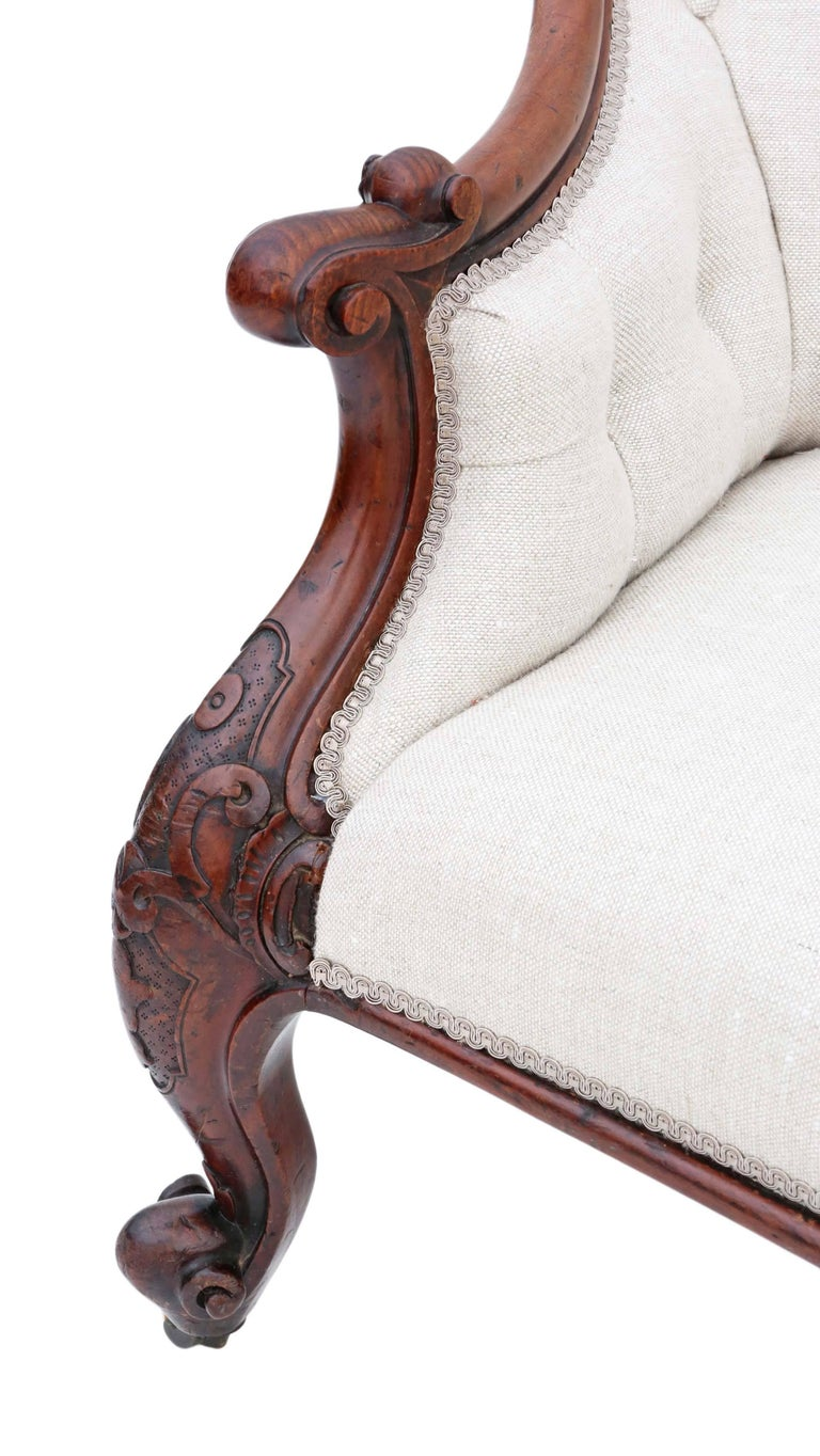 Antique quality victorian circa 1860 mahogany chaise for Antique victorian chaise longue