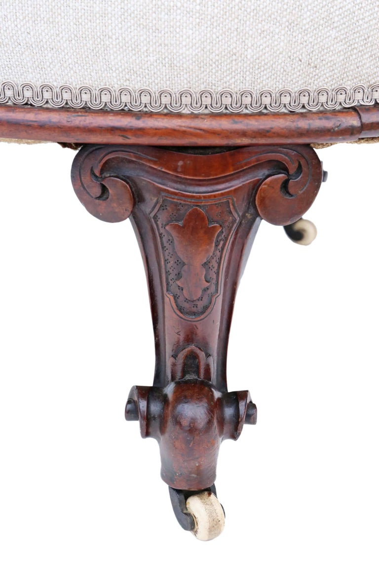Antique quality victorian circa 1860 mahogany chaise for Antique victorian chaise