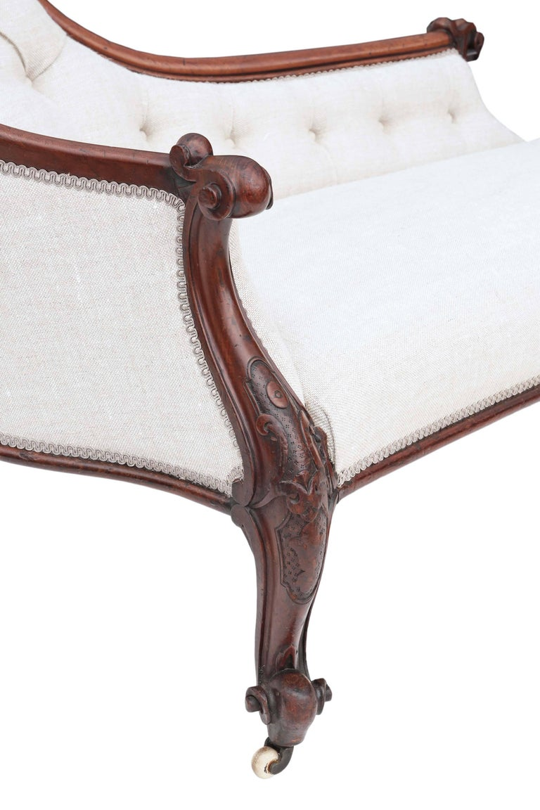 Antique quality victorian circa 1860 mahogany chaise for Antique chaise longues
