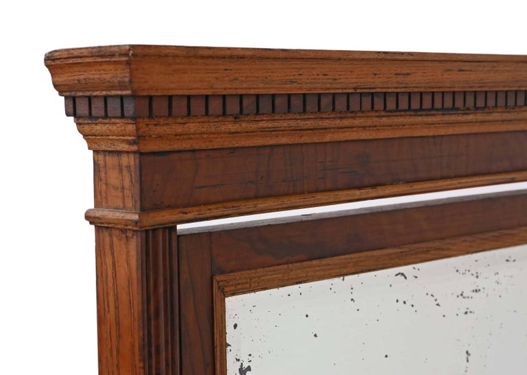 Antique Large Quality Victorian Walnut and Oak Cheval Mirror 4