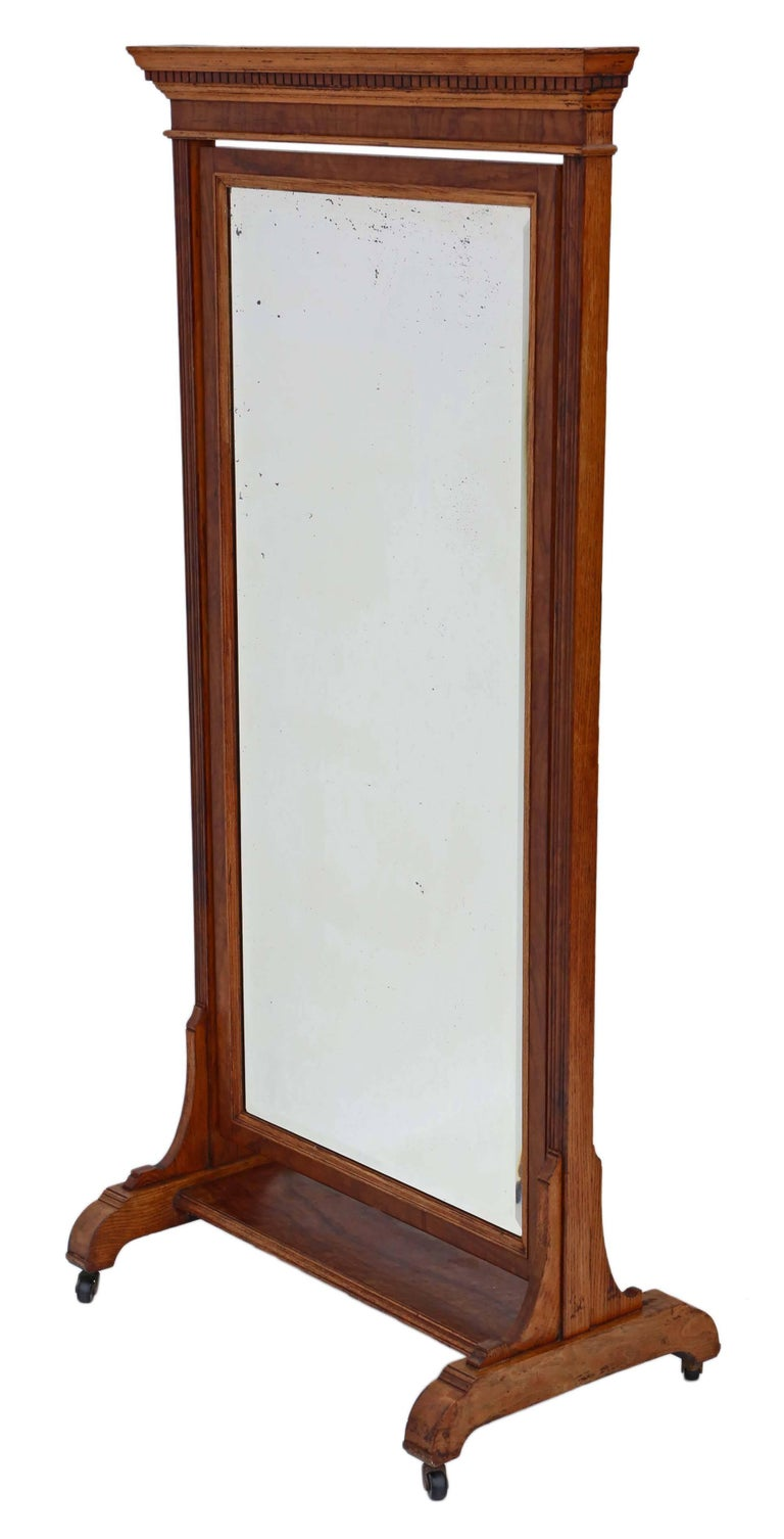 Antique Large Quality Victorian Walnut and Oak Cheval Mirror 7