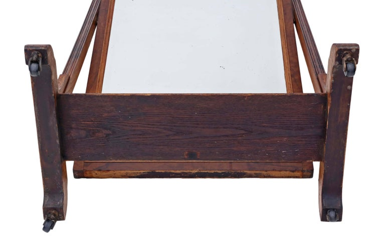 Antique Large Quality Victorian Walnut and Oak Cheval Mirror 8