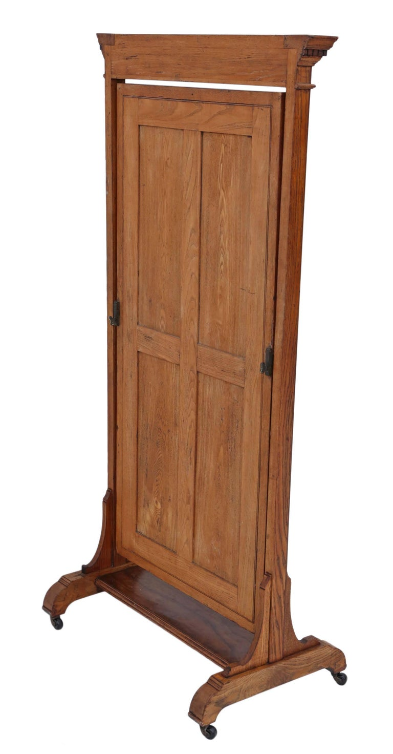 Antique Large Quality Victorian Walnut and Oak Cheval Mirror 2