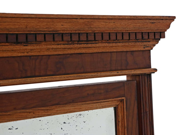 Antique Large Quality Victorian Walnut and Oak Cheval Mirror 5