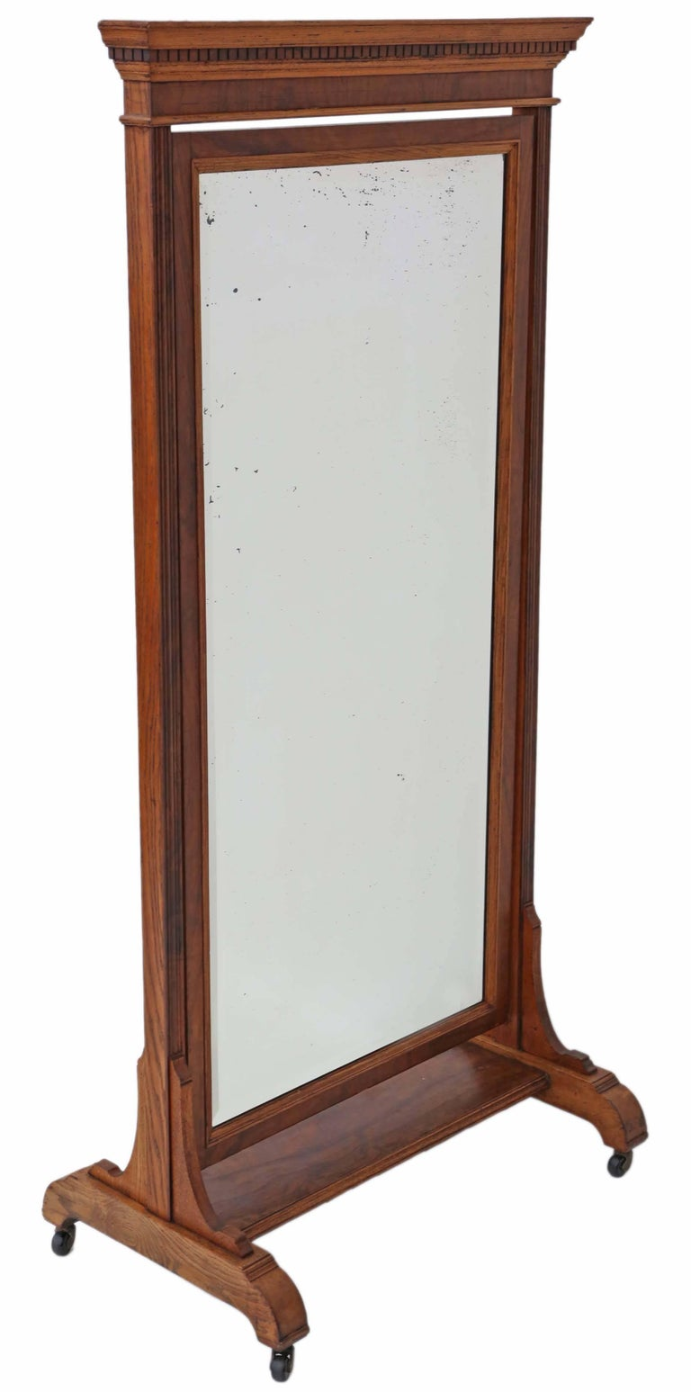 Antique Large Quality Victorian Walnut and Oak Cheval Mirror 9