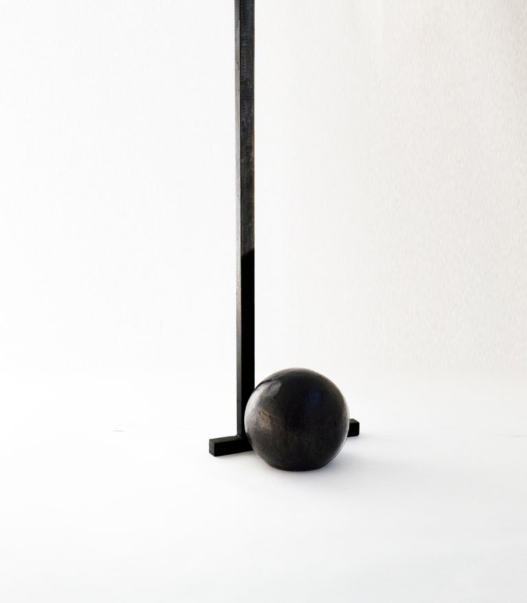 Sculptural Modern Geometric Coat Rack Handmade and Carved in Blackened Steel In Excellent Condition For Sale In Bronx, NY