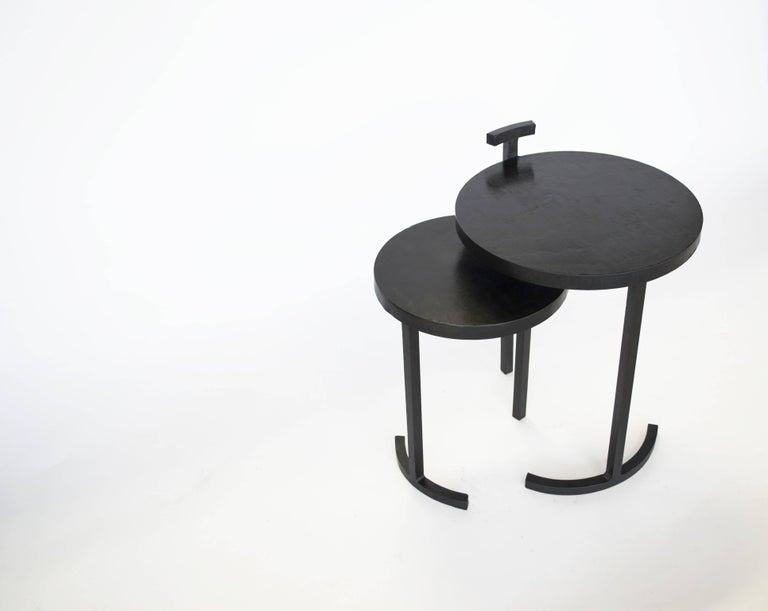 Nesting Table Set, Handmade by J.M. Szymanski in Cast Blackned and Waxed Steel 2