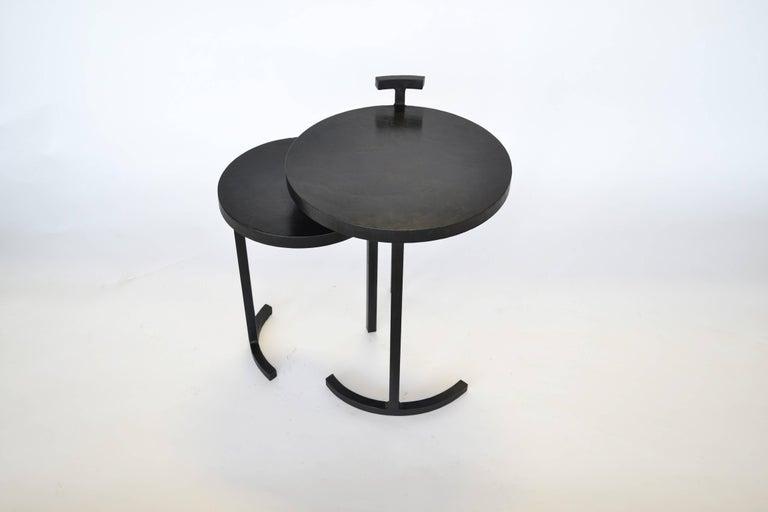 Nesting Table Set, Handmade by J.M. Szymanski in Cast Blackned and Waxed Steel 3