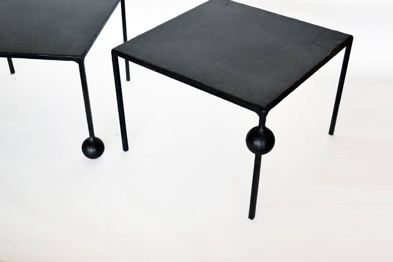 Modern Geometric Hand Made End Table PAIR in carved Blackened Steel  In New Condition For Sale In Bronx, NY
