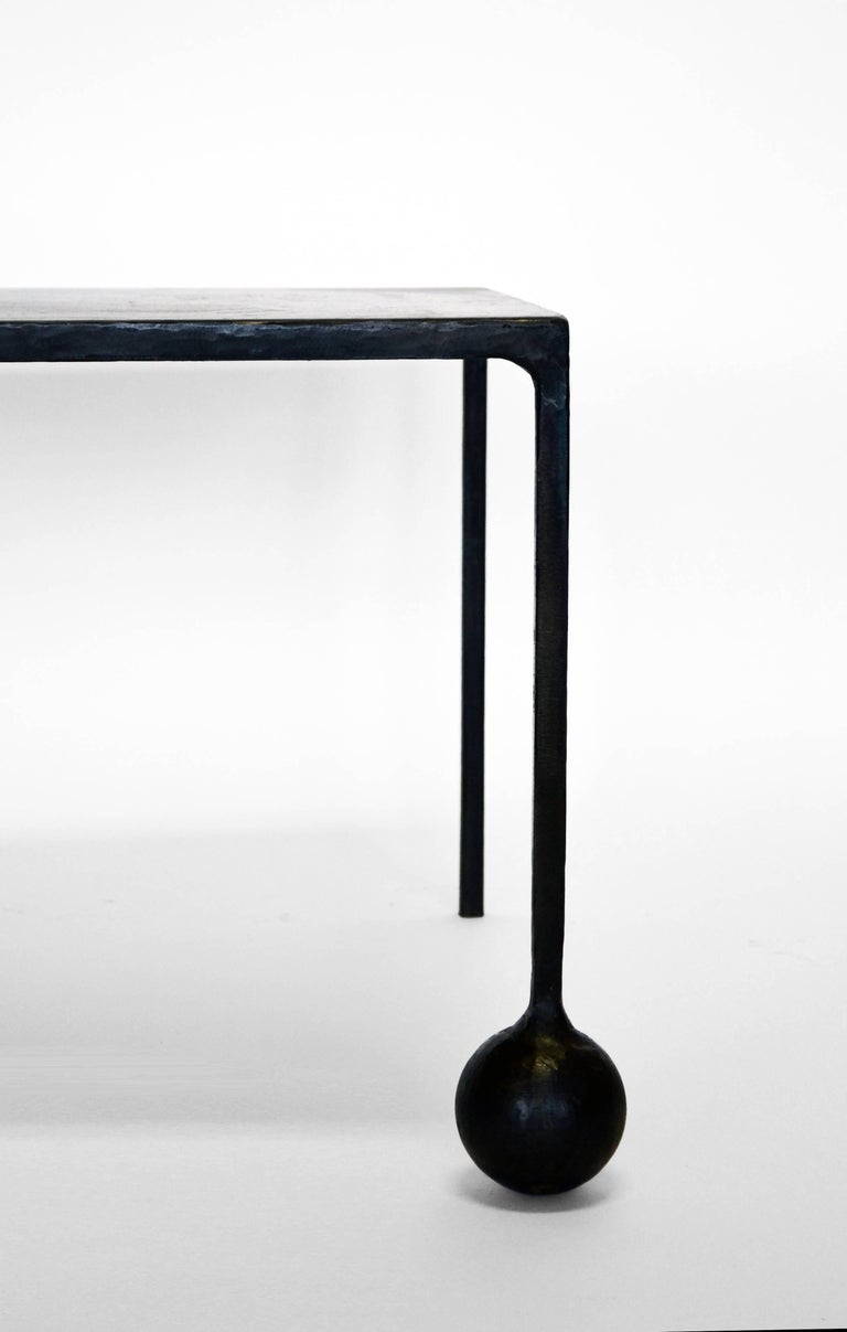 Modern Geometric Hand Made End Table PAIR in carved Blackened Steel  For Sale 1