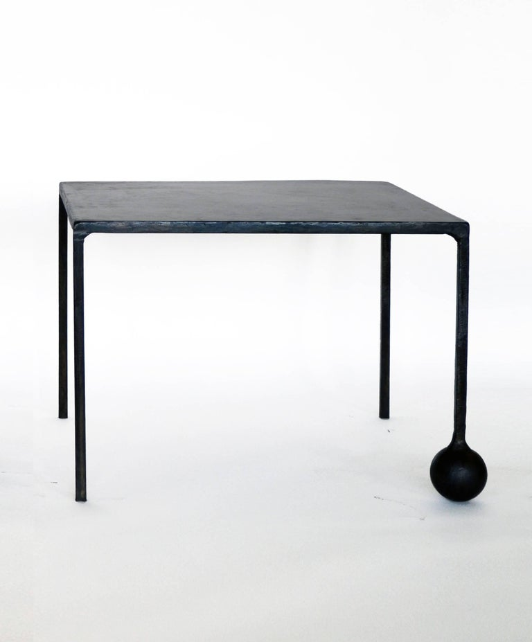 American Modern Geometric Hand Made End Table PAIR in carved Blackened Steel  For Sale